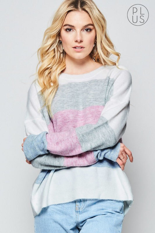 SOFT COLORBLOCK PASTEL SWEATER - BLUE PLUS