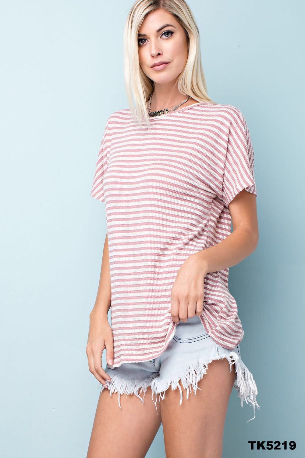 Mauve and white stripe top
