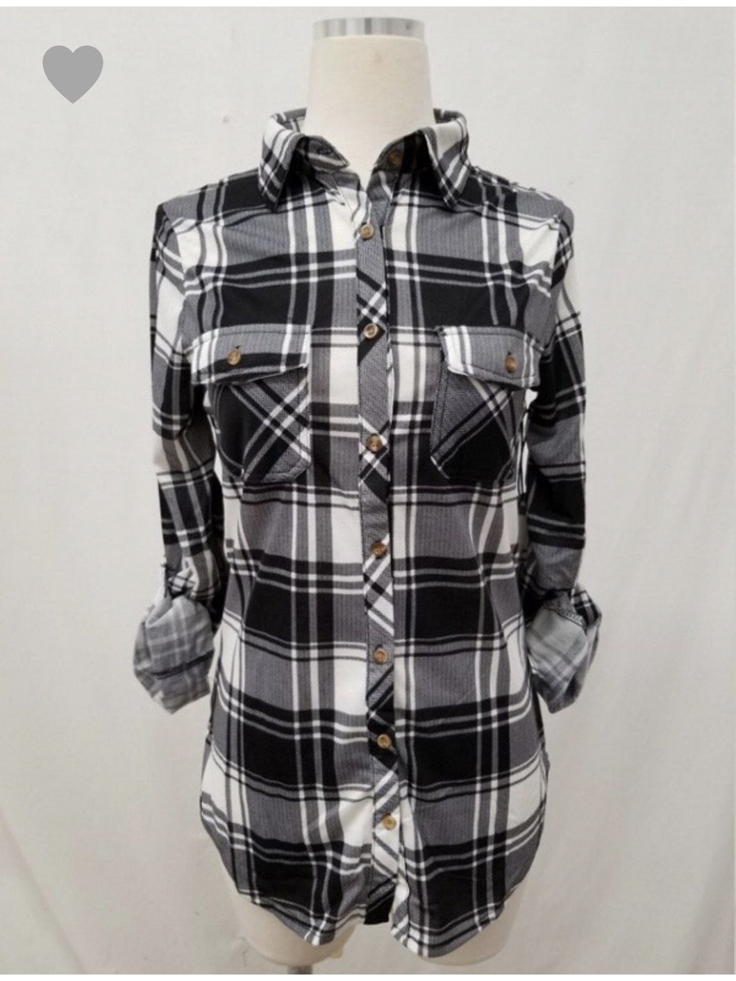 THE CATHY STRETCH PLAID BUTTON UP