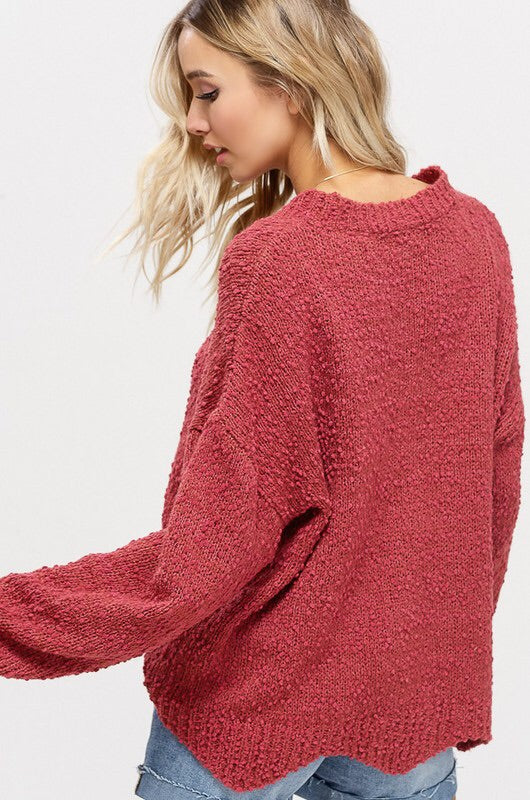 SCALLOPED POPCORN SWEATER