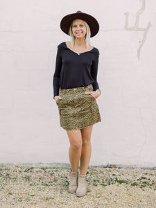THE ALLIE CARGO LEOPARD SKIRT