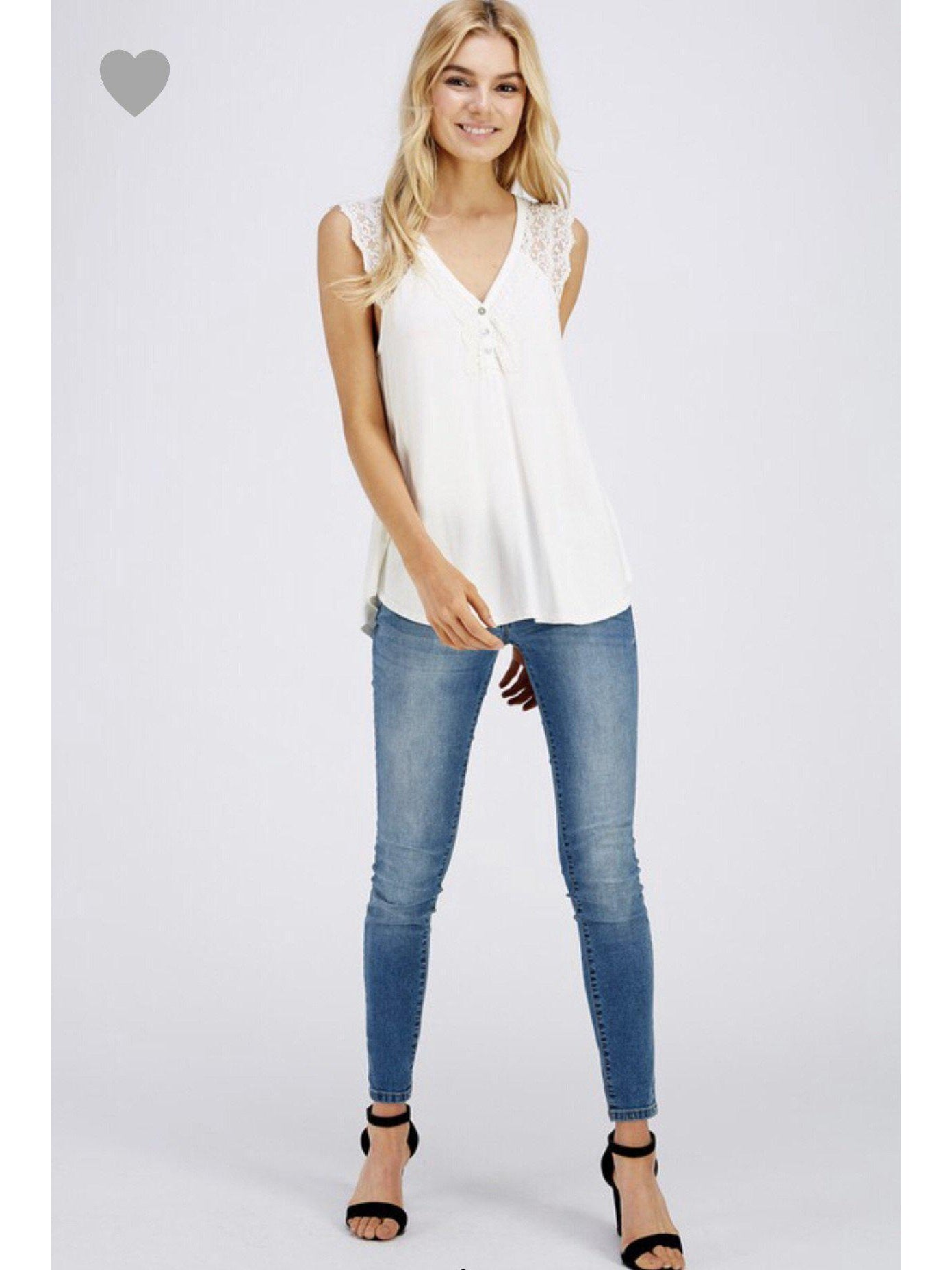 THE MILA LACE CAP SLEEVE TOP - IVORY