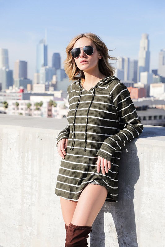 WAFFLE KNIT STRIPED HOODIE - 2 colors