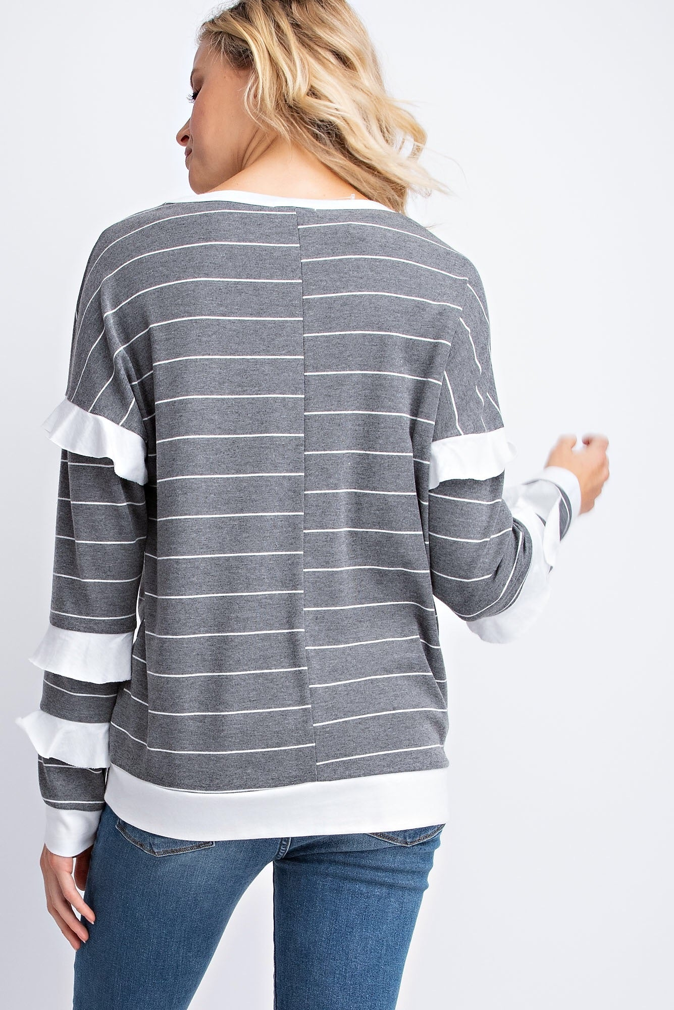 STRIPED RUFFLE SLEEVES TOP