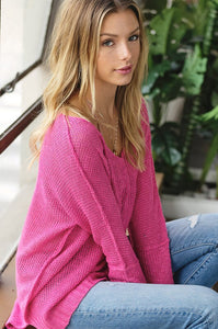 SOFT LUXE V NECK SWEATER - HOT PINK