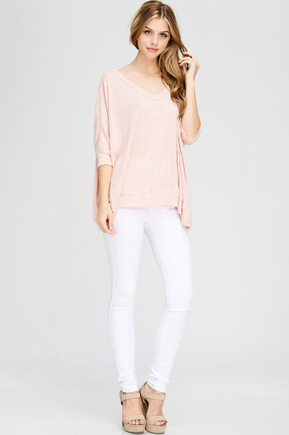 Oversized V-neck soft top- 3 colors