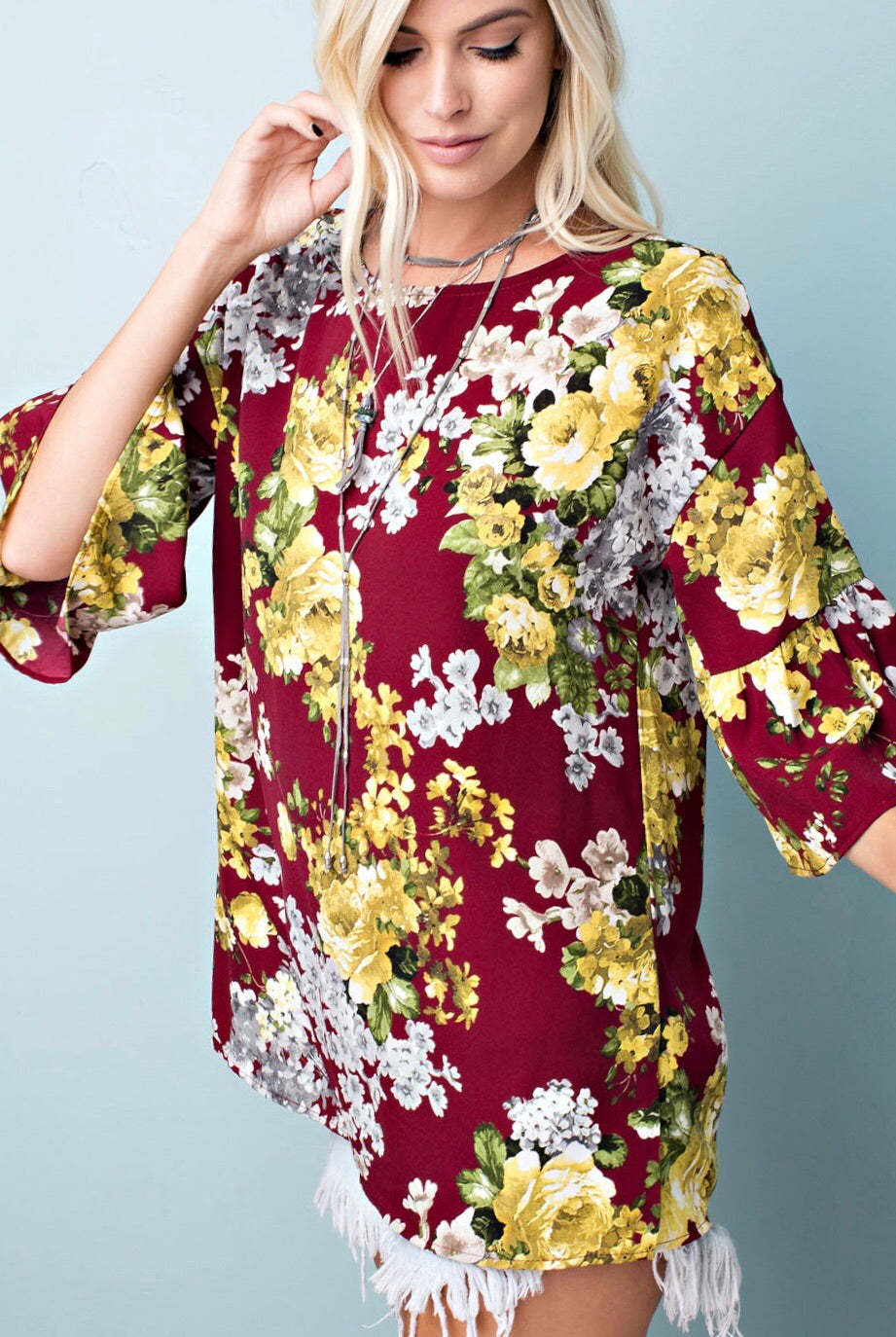 FLORAL WOVEN RUFFLED SLEEVED TOP