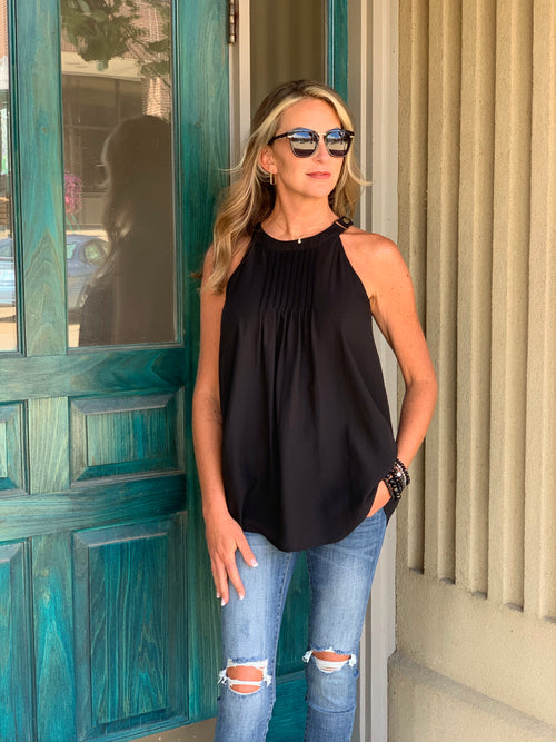 THE NATALIE BANDED NECK PINTUCK TOP