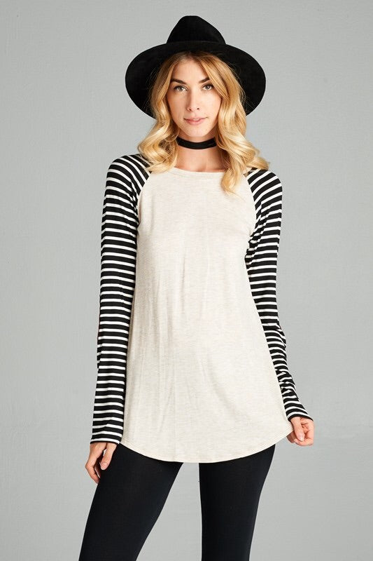 STRIPED ELBOW PATCH SLEEVE TUNIC