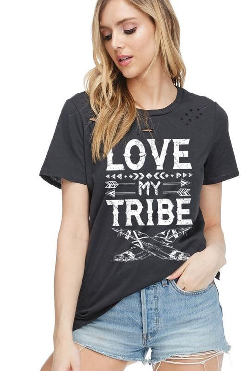 33050b19f0 THE LOVE MY TRIBE DISTRESSED TEE - 2 colors