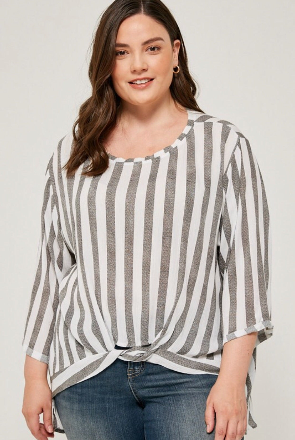Front twist high low vertical stripes top