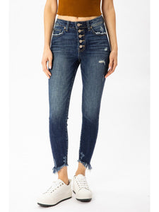 THE AYLA BUTTON FLY DARK WASH SKINNY DENIM