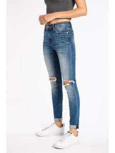 THE CHLOE DISTRESSED CUFFED DENIM - dark wash