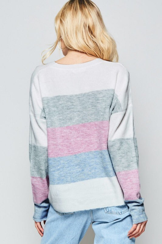 SOFT COLORBLOCK PASTEL SWEATER - BLUE