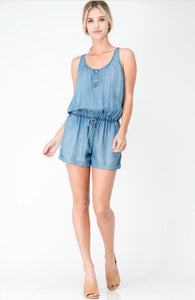 Sleeveless drawstring romper