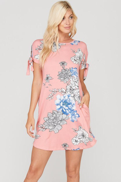 FLORAL TIED SHORT SLEEVE DRESS - PINK