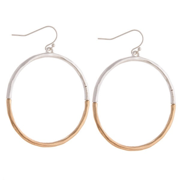TWO TONE ROUND EARRINGS