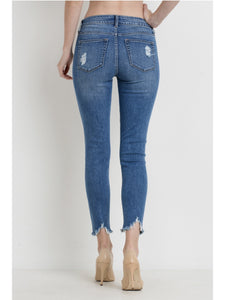 THE STEPHANIE SKINNY HEM DESTRUCTION DENIM