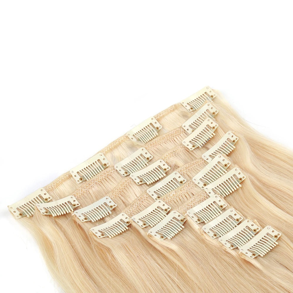 Blonde INDIAN wavy/straight clip in sets