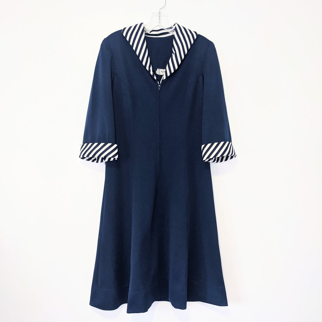 1970's striped collar a line dress - Med