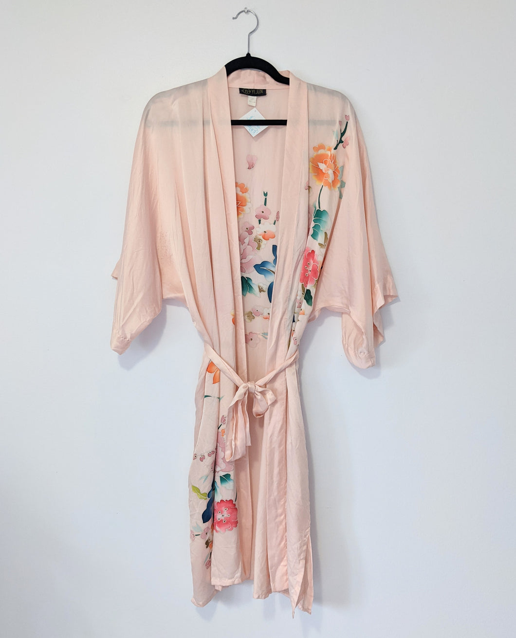 Blush pink silk robe - Medium