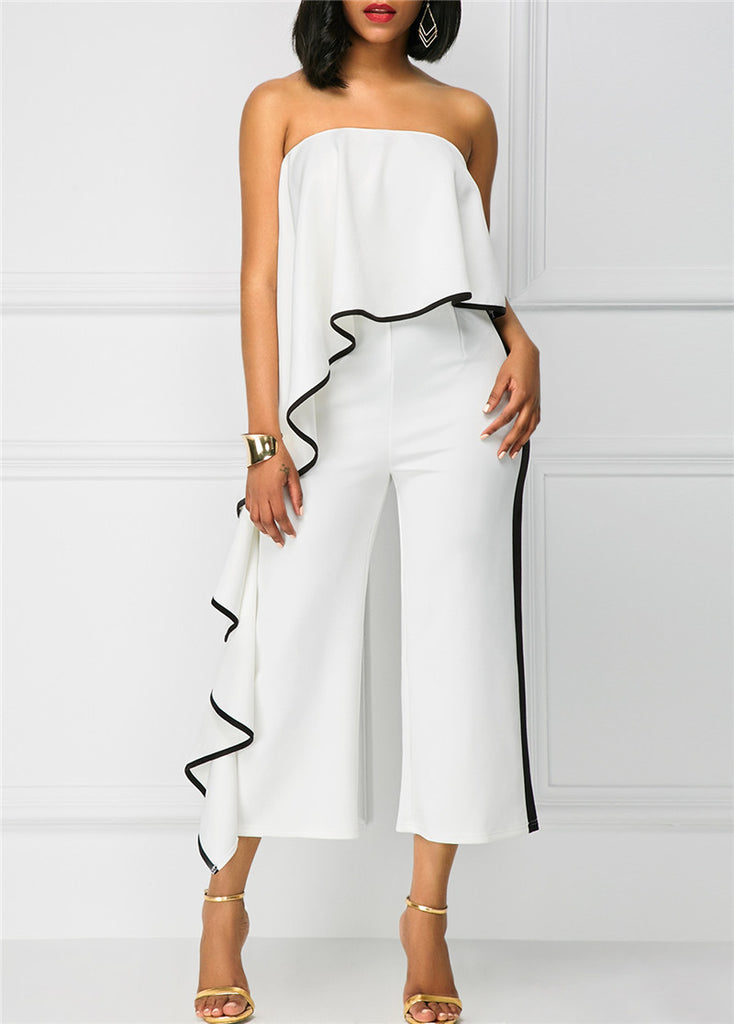 348e07c5d220 Strapless White Overlay Jumpsuit with Trim – TheBossLadyStore