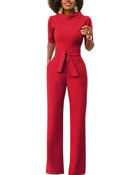 f23782b46659 Stand up collar half sleeve sashes jumpsuit – TheBossLadyStore