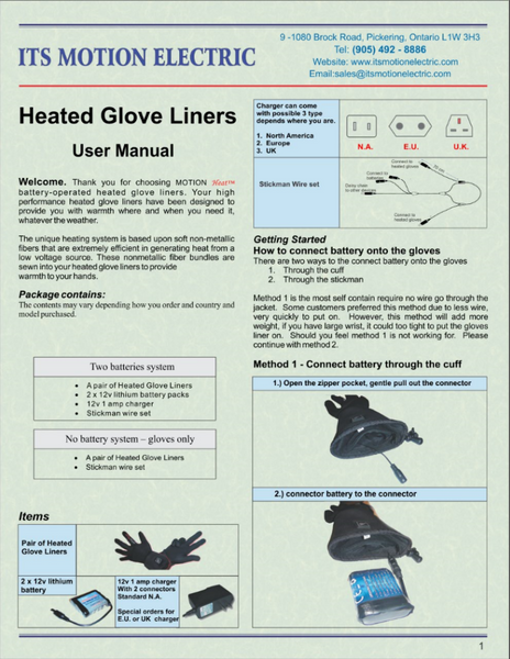 ENGLISH Its Motion Electric Heated Glove Product Manual