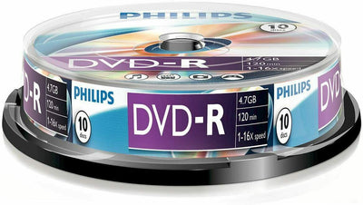 10x Philips DVD-R Blank Recordable Discs 4.7GB