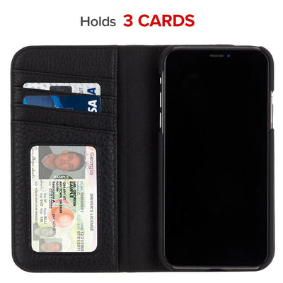 Case-Mate Leather Wallet Folio Case for Apple iPhone XR in Black - Dreamers Circle