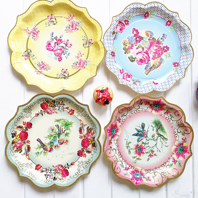 Large Vintage Style Plates -6pcs  sc 1 st  Colour My Party & Large Vintage Style Plates -6pcs | Colour My Party