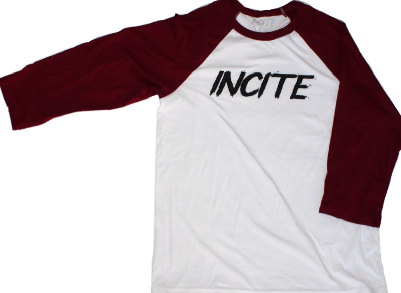 Incite Baseball Tee White/Burgundy
