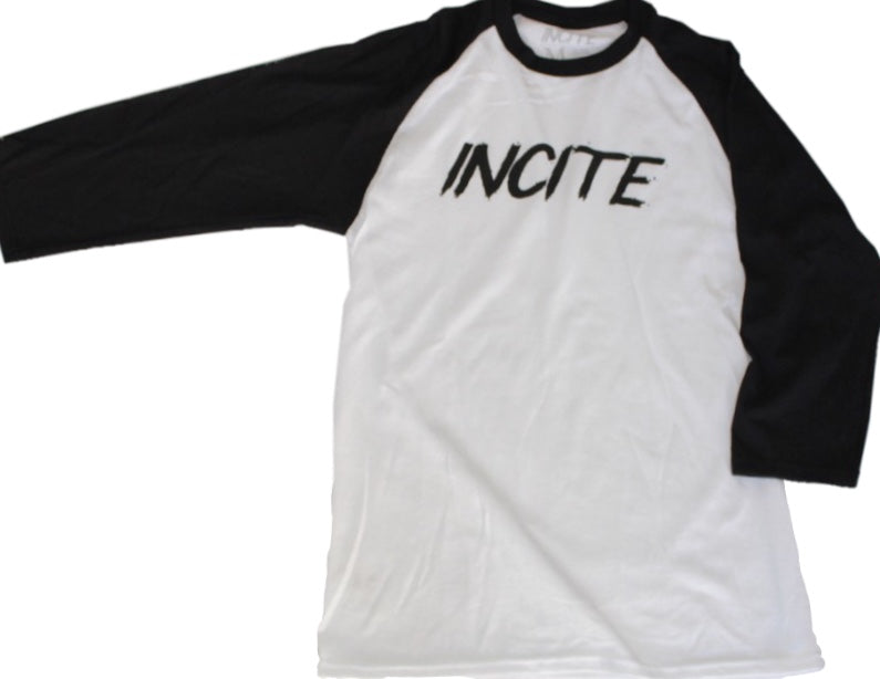 Incite Baseball Tee White/Black