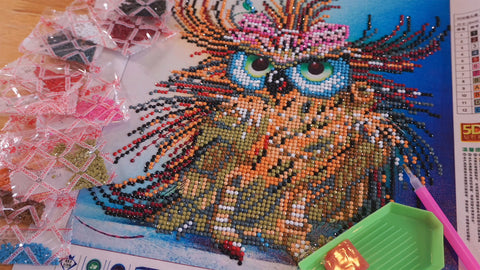 5cbf977c7f ... diamond painting on Google and Youtube. And ordered my first kits is  Love Owl. It is small size and partial drill. When it finished, I love it  and want ...