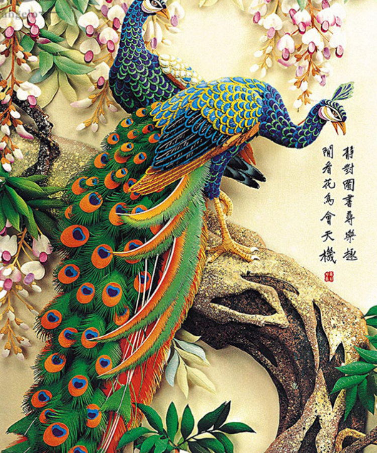 Vibrant Peacocks - Wooden Jigsaw Puzzle - 5D Diamond Painting - DIY Kits