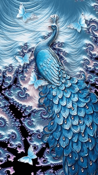 Fractal Peacock - 5D Diamond Painting - 5D Diamond Painting - DIY Kits