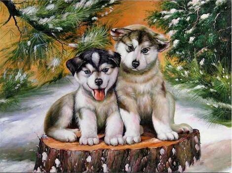 Puppy Friends - 5D Diamond Painting - 5D Diamond Painting - DIY Kits