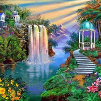 Waterfall Garden Home - 5D Diamond Painting - 5D Diamond Painting - DIY Kits