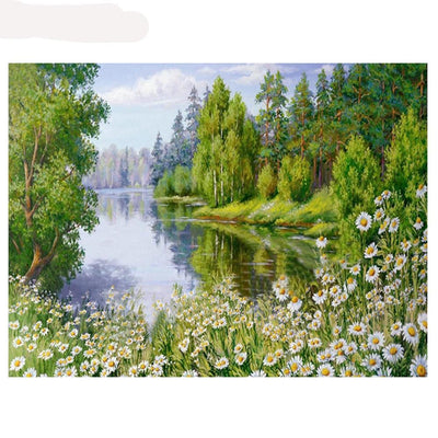 Outdoors forrest lake scene - 5D Diamond Painting - DIY Kits