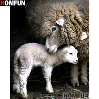 "HOMFUN Full Square/Round Drill 5D DIY Diamond Painting ""Animal sheep"" 3D Diamond Embroidery Cross Stitch Home Decor A19012 - 5D Diamond Painting - DIY Kits"