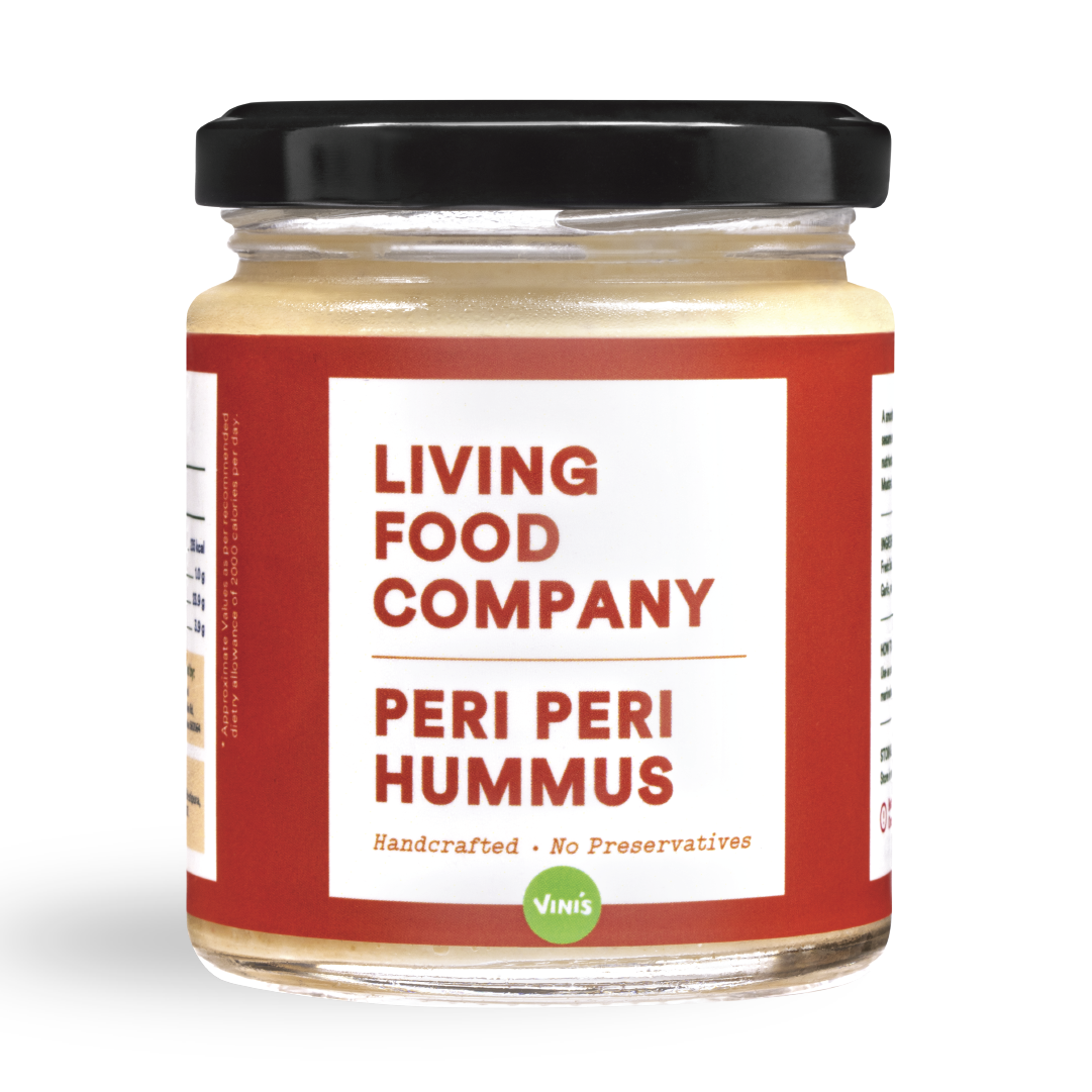 A smooth, Mediterranean dip made from mashed chickpeas, fresh homemade tahini, and extra virgin olive oil.  The peri-peri version has a spicy kick to it with flavours of fresh bird's eye chilies.