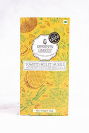 Toasted Millet Muesli: Fig & Honey with Salted Pistachios (Gluten-Free) on white marble background.