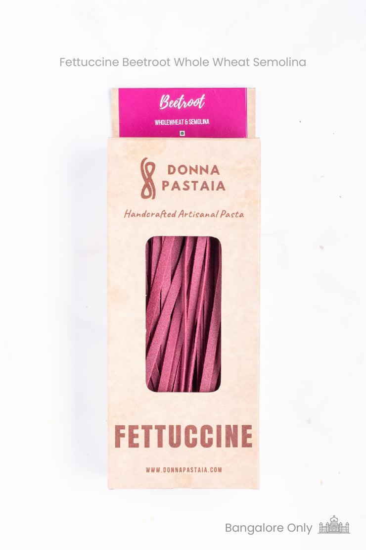 Handmade Beetroot Fettuccine Pasta - Organic Whole Wheat & Semolina (Eggless)