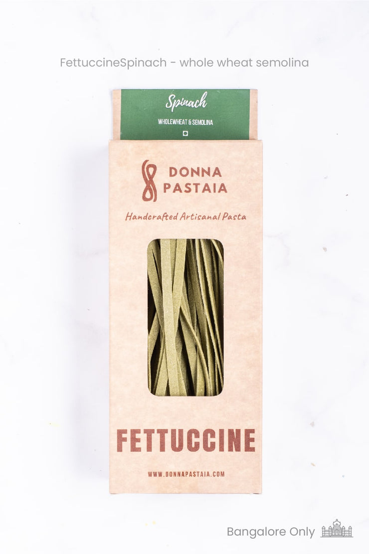 Handmade Spinach Fettuccine Pasta -  Organic Whole Wheat & Semolina (Eggless)