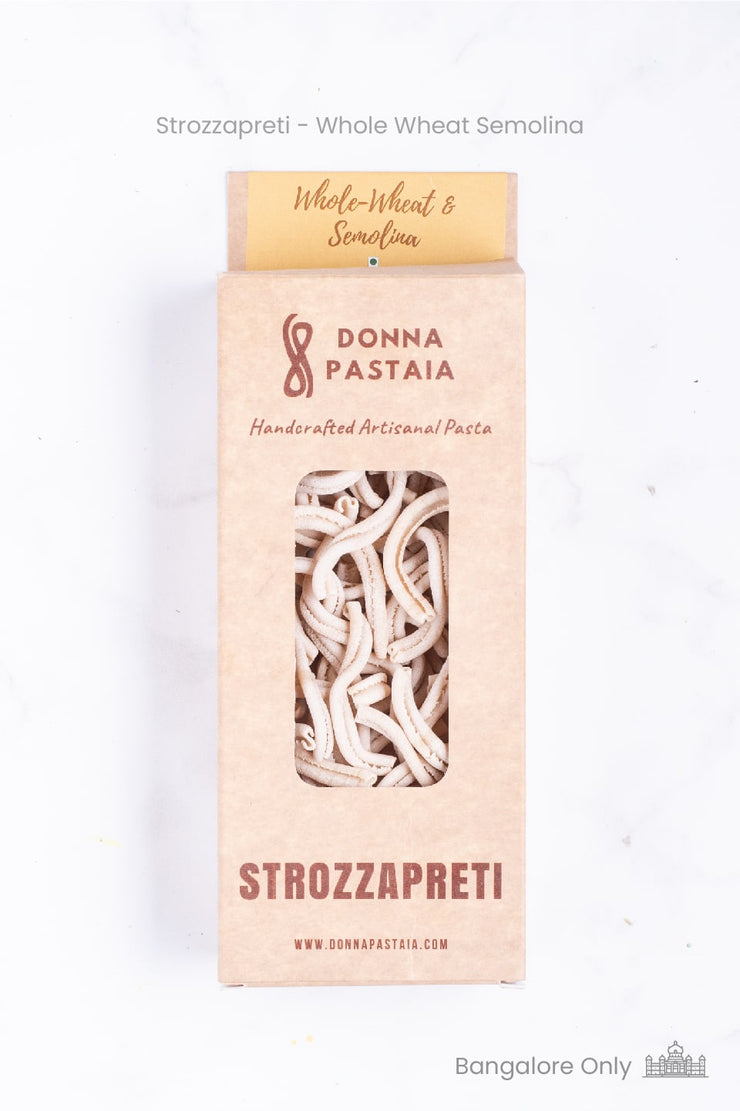 Handmade Strozzapreti Pasta - Wholewheat and Semolina (Eggless)