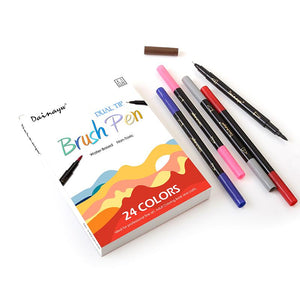 24 Colors - Fine liner and Brush Marker Set