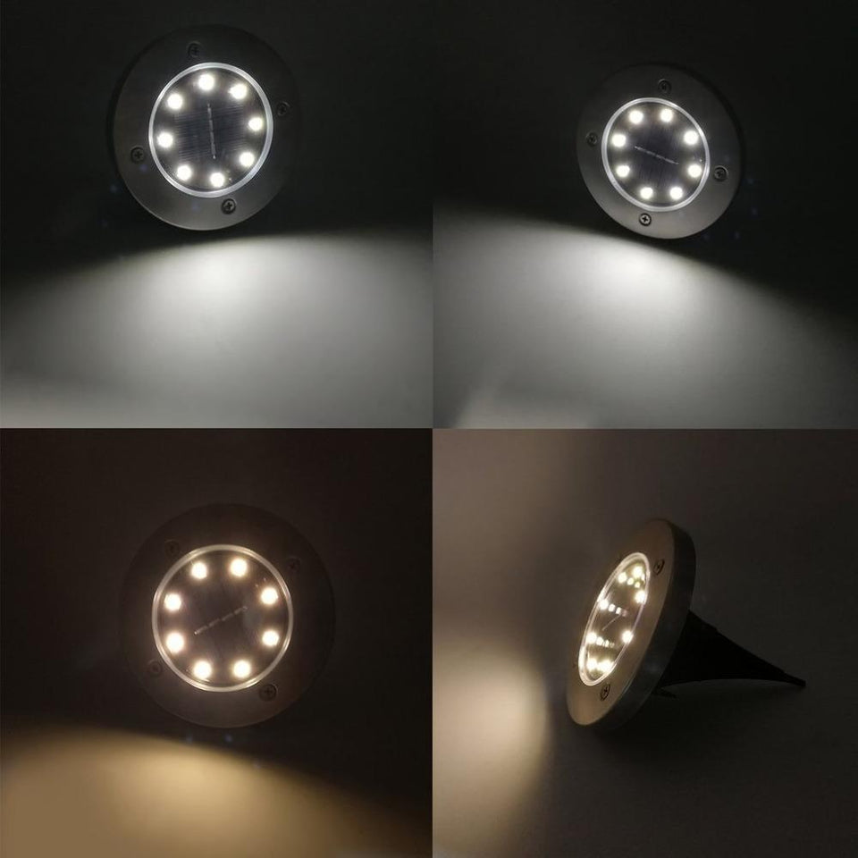 Disk Lights 4-LED Solar-powered