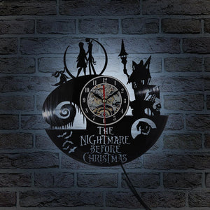 Nightmare Before Christmas Record Wall Clock