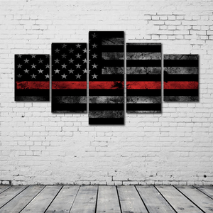 Thin Red Line (Firefighter) Flag Canvas Set