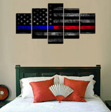 Thin Blue & Red Line (Police & Firefighters) Flag Canvas Set
